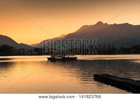 Touring Boat In Lake Kawaguchi At Sunset, Japan