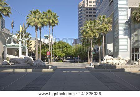 Downtown Sacramento street scene and businesses California.