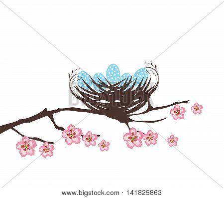vector illustration of a bird nest with eggs