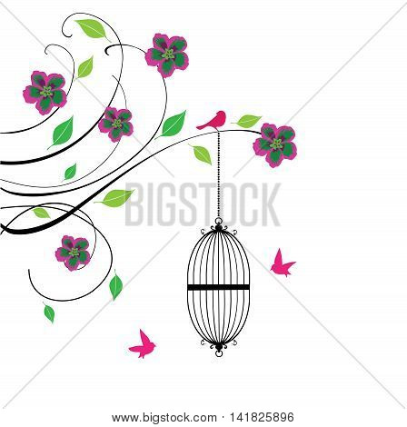 vector illustration of a vintage background with bird cages and flowers