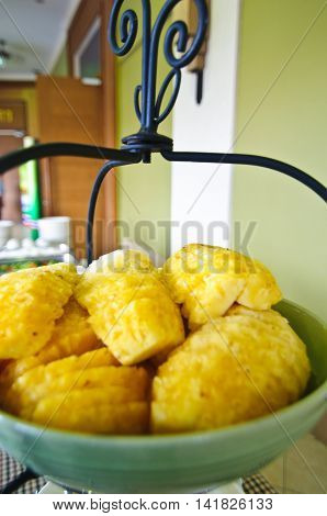 Fresh Pineapple fruit for eat in buffet