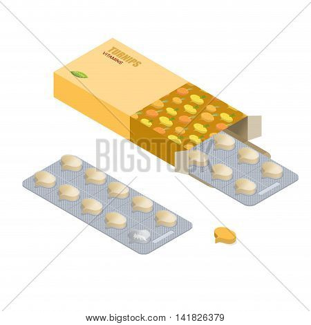 Turnip Vitamins. Vegetarian Pills. Tablets In Pack. Natural Products For Health In Form Of Fresh Bul
