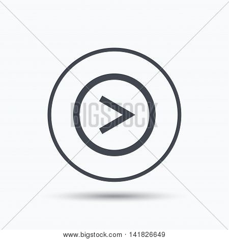 Arrow icon. Next navigation symbol. Circle button with flat web icon on white background. Vector