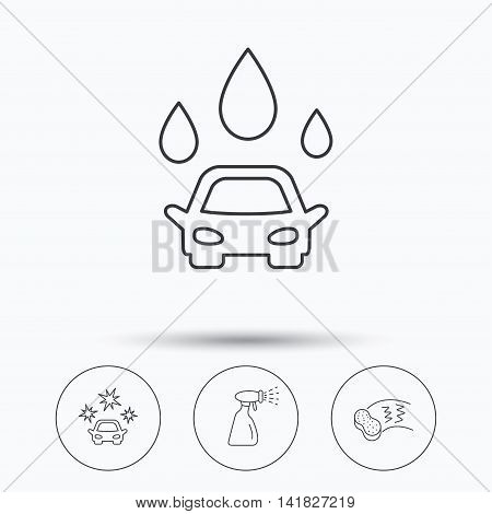 Car wash icons. Automatic cleaning station linear signs. Hand wash, sponge and spray flat line icons. Linear icons in circle buttons. Flat web symbols. Vector