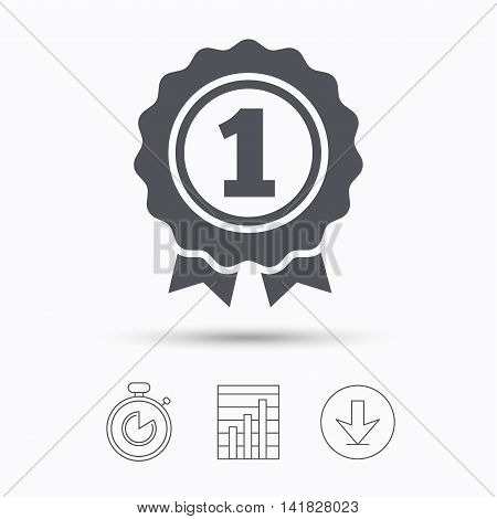 Award medal icon. Winner emblem symbol. Stopwatch, chart graph and download arrow. Linear icons on white background. Vector