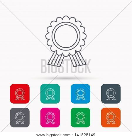 Award medal icon. Winner achievement sign. Linear icons in squares on white background. Flat web symbols. Vector