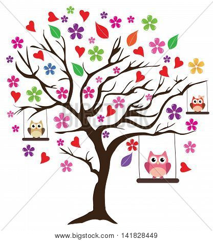 vector illustration of a floral tree with owls swinging