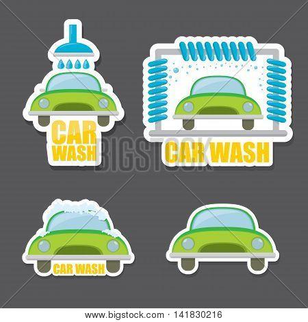 orange vector Car wash icons set . vector car wash sticker collection. vector car wash logo template. washing car label