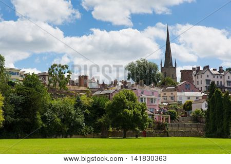Ross-on-Wye town in the Wye Valley Herefordshire England uk park view towards St Mary`s church landmark
