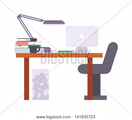 Interior of working place concept in flat design. Work place vector and modern office table interior. Creative work place design. Office occupation professional.