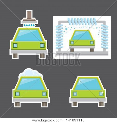 orange vector Car wash icons set . vector car wash sticker collection. vector car wash logo template. washing car label