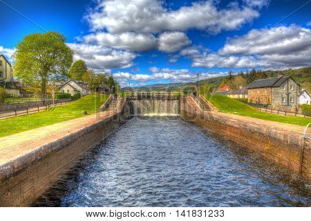 Caledonian canal lock gate Fort Augustus Scotland UK in colourful HDR