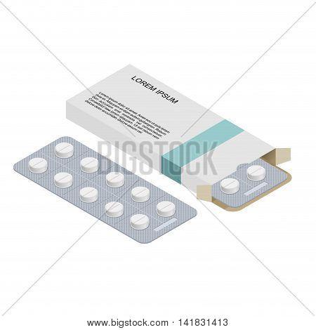 Medical Pills In Pack. Medications Isometrics. Healing In Cardboard Box. Health Pilule. Vitamins