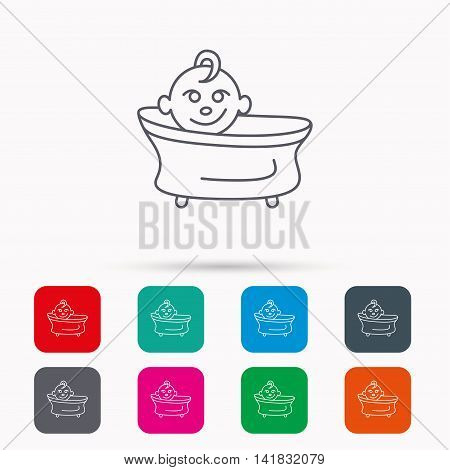 Baby in bath icon. Toddler bathing sign. Newborn washing symbol. Linear icons in squares on white background. Flat web symbols. Vector