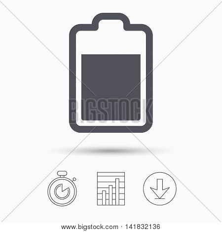 Battery power icon. Charging accumulator symbol. Stopwatch, chart graph and download arrow. Linear icons on white background. Vector