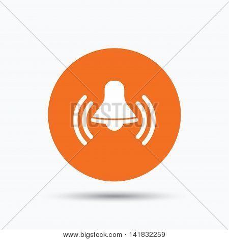 Bell icon. Reminder alarm signal symbol. Orange circle button with flat web icon. Vector