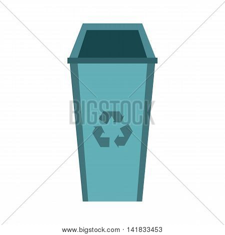 Recycle bin icon in flat style isolated on white background