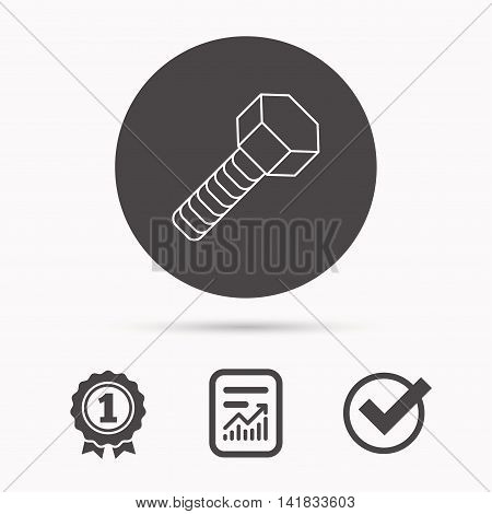 Screw icon. Bolt sign. Report document, winner award and tick. Round circle button with icon. Vector