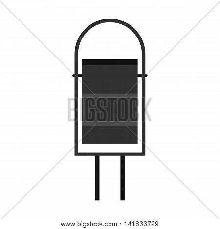 Gray outdoor bin icon in flat style isolated on white background