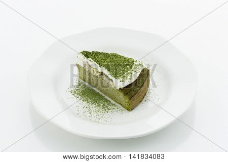 Powdered green tea cake