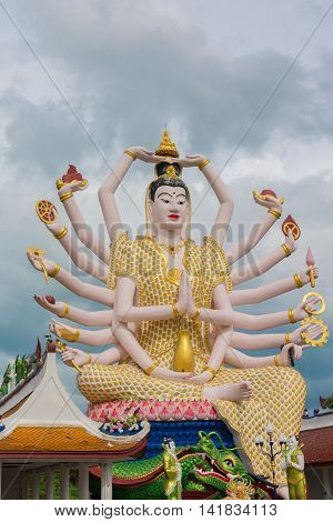 Statue At Big Buddha Area In Wat Plai Laem, Koh Samui,thailand