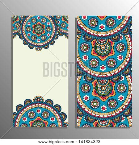 Vertical banner with tribal ornament. Vector illustration