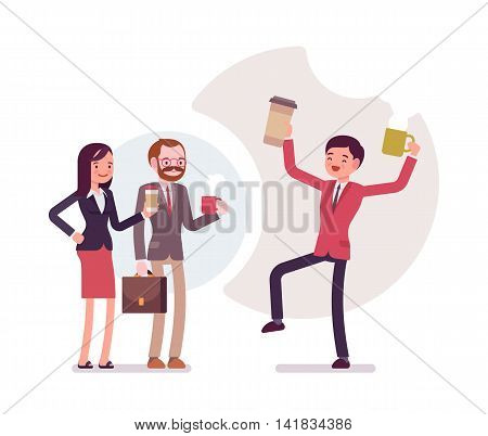 Office coffee lovers. Group of people in a formal wear. Cartoon vector flat-style business concept illustration