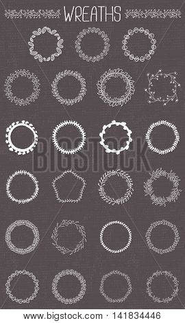 Set of 23 floral wreaths. Decorative elements for design invitation, cards, labels.