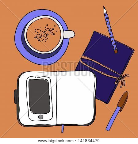 Coffee cup, notebook, pen, pencil and smartphone. Mockup, template for design