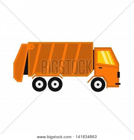 Truck for garbage icon in flat style isolated on white background. Waste and sanitation symbol