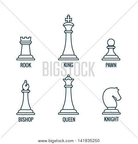 Chess pieces in thin line vector icons, king and queen, bishop and rook, knight and pawn. Set of figure for chess and illustration of chess pieces