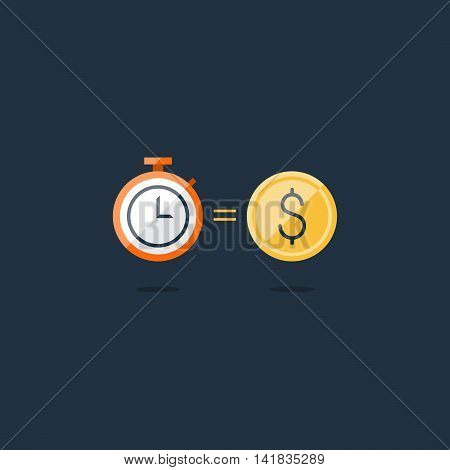Time is money concept, savings account, cash bask