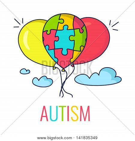 Autism awareness poster with colorful balloons. Balloon made of puzzle pieces as symbol of autism. Vector illustration.
