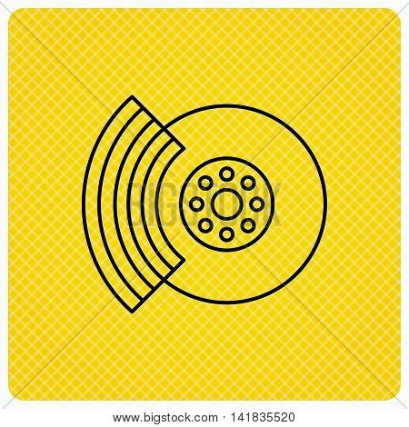 Brakes icon. Auto disk repair sign. Linear icon on orange background. Vector