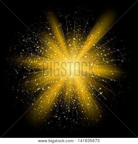Gold Glitter Particles Background Effect.