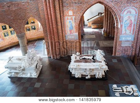 Roskilde Denmark - July 23 2015: The chancel with the Royal tombs in the medieval Cathedral