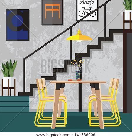 Interior living room with sofa and a Flat style vector illustration.