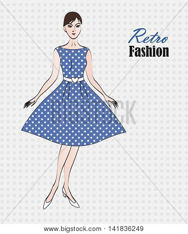 Fashion retro woman background. Vector illustration elegant fashion model. Blue polka dot retro dress.