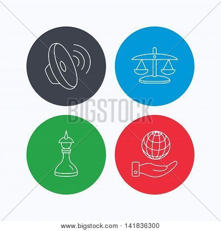 Strategy, sound and scales of justice icons. Save planet linear sign. Linear icons on colored buttons. Flat web symbols. Vector