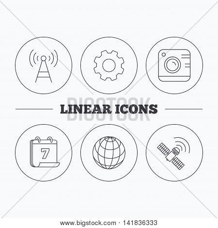Photo camera, globe and gps satellite icons. Telecommunication station linear sign. Flat cogwheel and calendar symbols. Linear icons in circle buttons. Vector