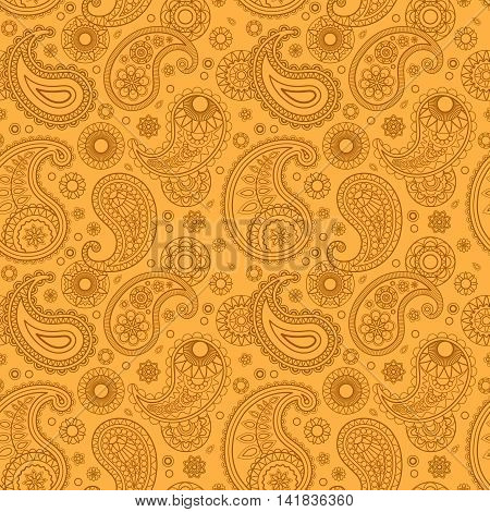 Yellow color arabic paisley pattern. Vector illustration
