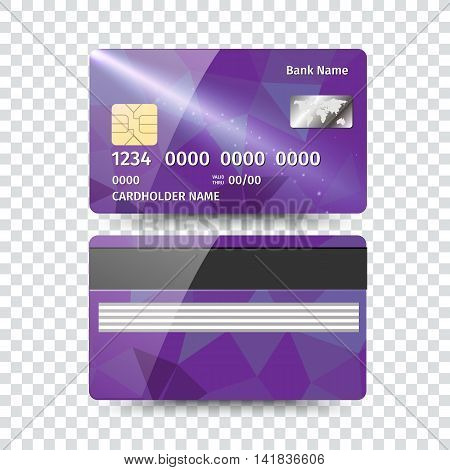 Realistic detailed credit card with abstract geometric design isolated on white background.