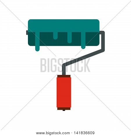 Roller icon in flat style isolated on white background. Construction tool symbol