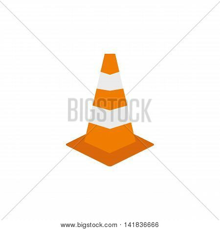Road sign cone icon in flat style isolated on white background. Fencing symbol