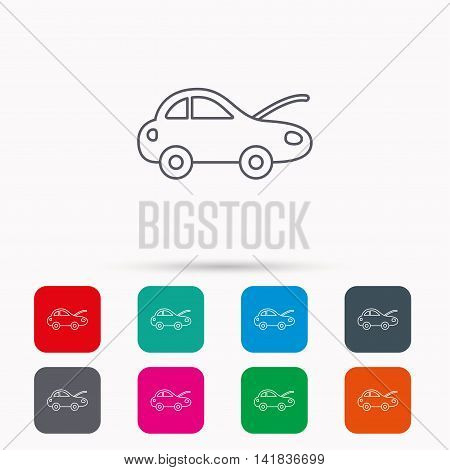 Car repair icon. Mechanic service sign. Linear icons in squares on white background. Flat web symbols. Vector