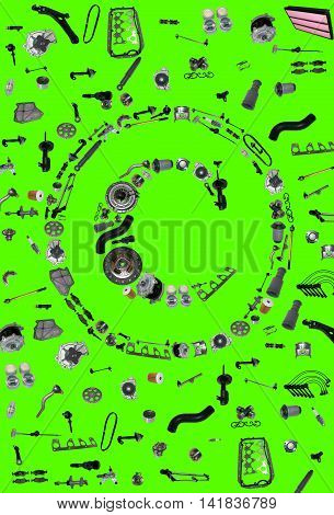 Copyright icone with auto parts for car. Spare parts for car for shop, aftermarket OEM. Many auto parts isolated in copyright icone on green screen, chroma key