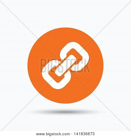 Chain icon. Internet web hyperlink symbol. Orange circle button with flat web icon. Vector