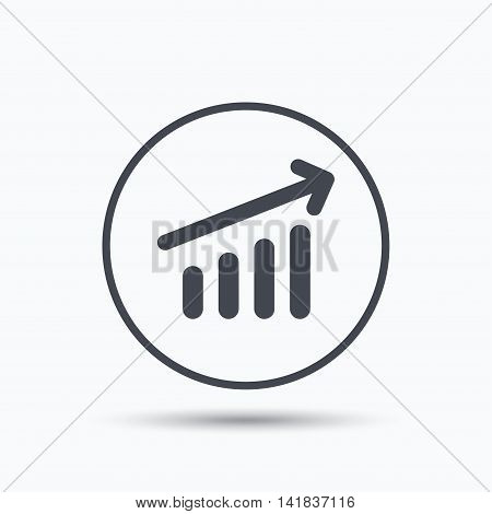 Growing graph icon. Business analytics chart symbol. Circle button with flat web icon on white background. Vector