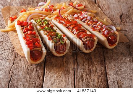 Hot Dogs With Ketchup, Mustard, Onions And French Fries. Horizontal, Rustic