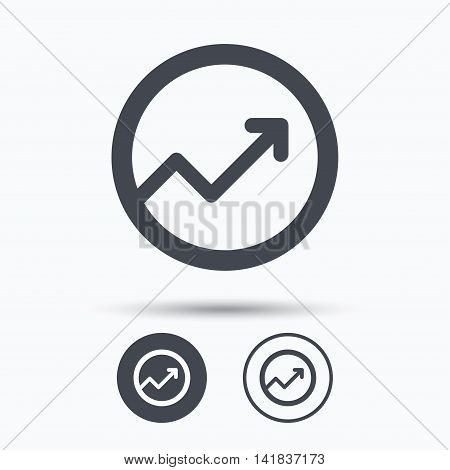 Growing graph icon. Business analytics chart symbol. Circle buttons with flat web icon on white background. Vector